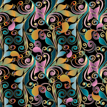 Paisley colorful floral seamless pattern. Vintage background wallpaper with bright paisley flowers, leaves, swirls, lines, damask ornaments. Multicolor ornate luxury design for fabric, textile, prints