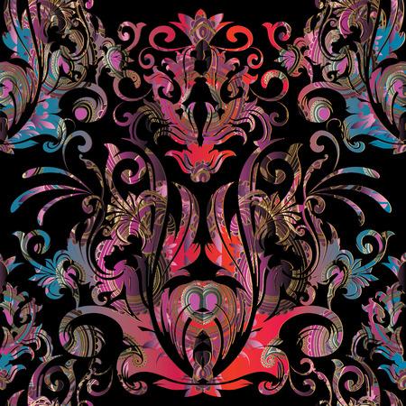 Modèle sans couture de vecteur baroque. Fond noir floral avec des fleurs damassées colorées, des rouleaux, des courbes, des feuilles, des ornements baroques antiques. Design de luxe pour papiers peints, tissus, imprimés, textiles