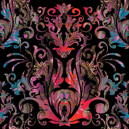 Baroque  vector seamless pattern. Floral  black background with colorful damask flowers, scrolls, curves, leaves, antique baroque ornaments. Luxury design for wallpapers, fabric, prints, textile