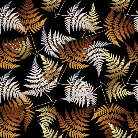 Fern leaves seamless pattern. Vector floral background with gold silver abstract fern leaves. Abstract luxury ornaments. Surface texture. Modern design for wallpapers, fabric, prints, textile