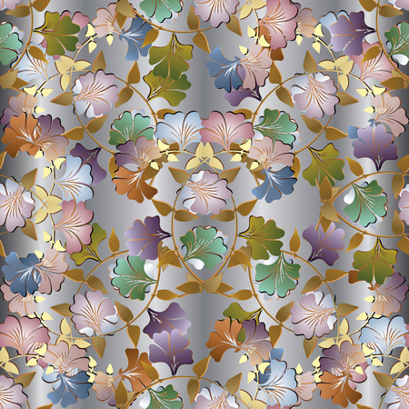 Floral colorful 3d seamless pattern. Vector light background wallpaper with vintage summer flowers, swirl leaves, curves, lines, elegance ornaments. Luxury design for fabric, prints, textile
