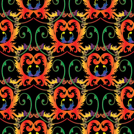 Baroque colorful seamless pattern. Vector antique background. Vintage damask ornaments.