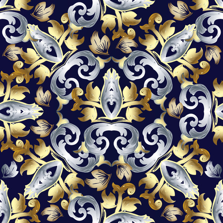 Baroque vector seamless pattern. Vintage floral background wallpaper with gold silver damask flowers, scroll leaves, antique ornament in baroque style. Luxury surface texture. Design for fabric, print