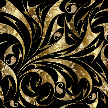 Paisley seamless gold floral pattern. Vector abstract ornate background wallpaper with gold hand drawn paisley flowers.
