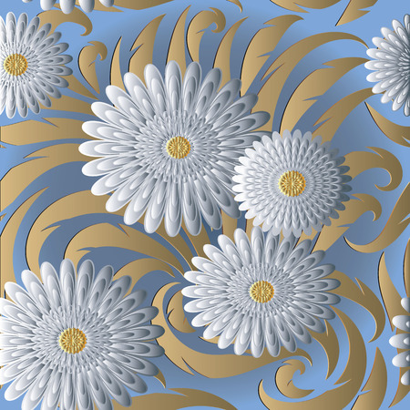 White 3d flowers vector seamless pattern.