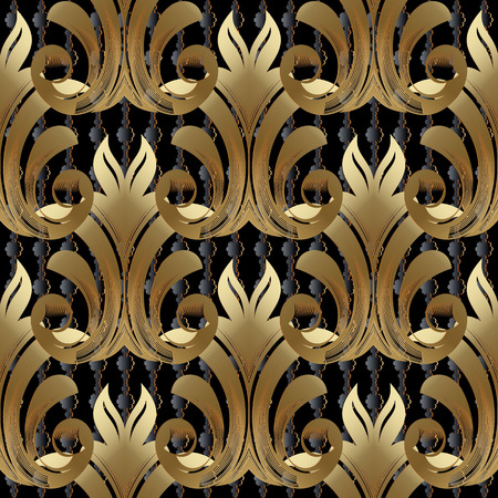 Baroque gold vector seamless pattern. Floral background wallpaper with vintage golden damask flowers, scroll leaves, antique ornaments in victorian, renaissance, rococo, baroque style. Abstract design