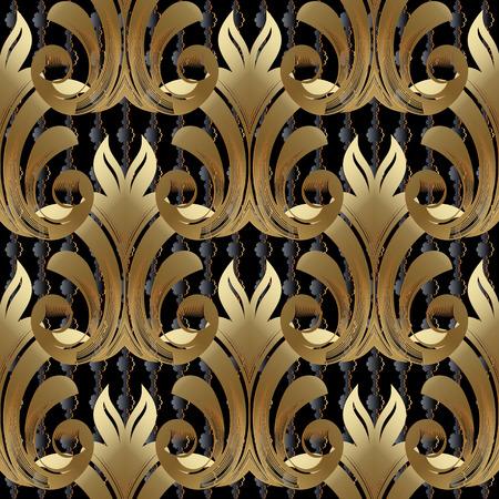 バロックゴールドベクターシームレスパターン。ヴィンテージ黄金のダマスコの花、スクロールの葉、ビクトリア朝のアンティークの装飾品、ルネッサンス、ロココ、バロック様式と花の背景壁紙。抽象設計