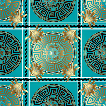Greek geometric check seamless pattern. Vector meander background. 3d wallpaper with greek key ornament. Abstract surface pattern with circle, stripes, borders , squares, gold abstract flowers, waves