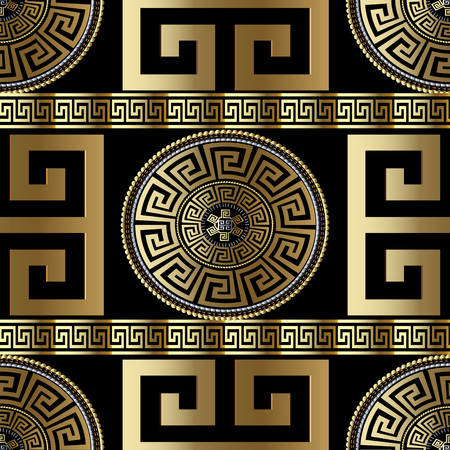 Modern geometric Greek seamless pattern. Vector gold meander background. 3d wallpaper with Greek key ornament. Ornate fabric design. Abstract surface texture with circle, stripes, borders, squares.
