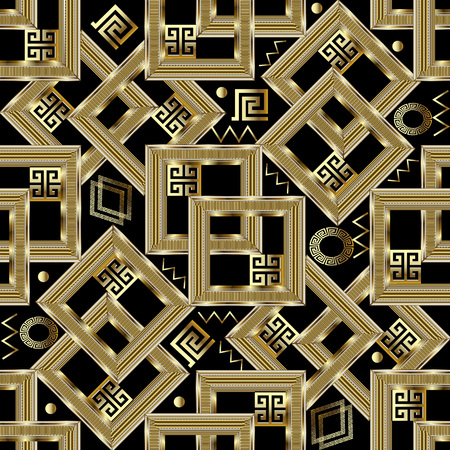 Gold geometric greek key seamless pattern. Square gold 3d meanders background. Intricate ornaments with figured surface frames, circles, zigzag, shapes, lines, squares, rhombus. Modern design