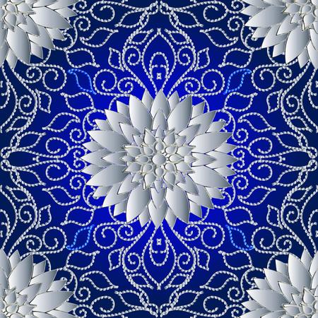 Líneas de puntos florales 3d patrón seanless. Fondo de pantalla de fondo abstracto de vector con flores blancas 3d, hojas, adornos de tracería de arte de línea de puntos. Textura de superficie. Diseño para tela, estampados, textil. Ilustración de vector