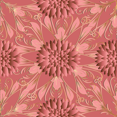 3d flowers vector seamless pattern. Monochrome floral pink background wallpaper with 3d flowers, leaves and line art tracery endless damask ornaments. Surface texture. Elegant design for fabric, print Illustration