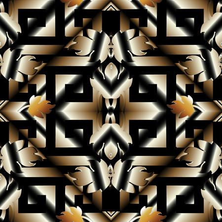 줄무늬 3d meander 그리스 키 완벽 한 패턴입니다. 블랙 골드 3d 기하학적 배경 벡터. 현대 표면 벽지. 바로크 스타일의 꽃 장식, 나뭇잎. 마름모, 추상적 인 모양, 줄무늬. 직물 스톡 콘텐츠 - 97121022