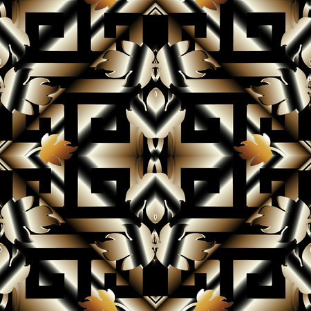 Striped 3d meander greek key seamless pattern. Vector black gold 3d geometric background. Modern surface wallpaper. Baroque style floral ornament, leaves. Rhombus, abstract shapes, stripes. For fabric