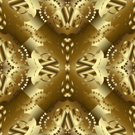 Gold textured 3d paisley seamless pattern. Golden surface abstract background wallpaper with vintage paisley flowers, dots, dotted lines, polka dots, swirls. Modern texture. Luxury design with shadows