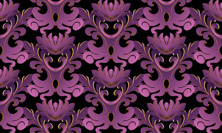 Violet 3d Baroque seamless pattern. Vector black background wallpaper with vintage purple gold 3d flowers, scroll leaves, antique damask ornament in baroque style. Surface floral texture with shadows