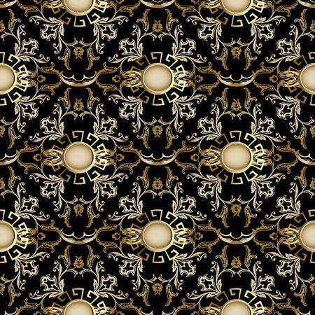 Damask 3d seamless pattern. Vector Baroque background. Antique floral ornaments with vintage flowers, scroll leaves, circles, meanders and greek key design. Luxury rich wallpaper, fabric, textile