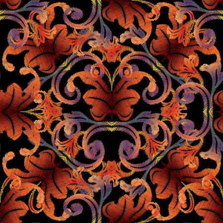 Baroque tapestry seamless pattern. Vector vintage background wallpaper with antique embroidered damask flowers, scroll leaves, abstract butterflies. Embroidery design. Grunge texture. Floral ornaments