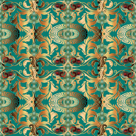 Baroque gold seamless pattern. Vector floral vintage background. Turquoise 3d wallpaper with antique baroque flowers, scroll leaves, circles, meander, greek key ornaments. Surface design with shadow