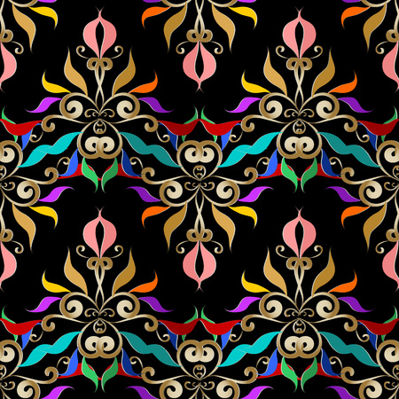 Vector floral black background with multi-color hand drawn vintage flowers, swirl lines, leaves, curves and abstract modern ornaments. Illustration