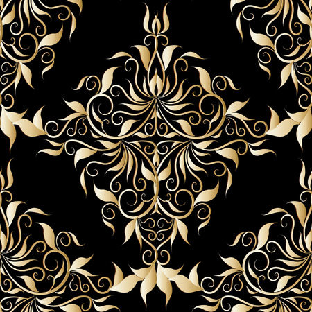 Vector floral black background with vintage golden hand drawn flowers, leaves, swirls, curves, line art tracery renaissance style ornaments.