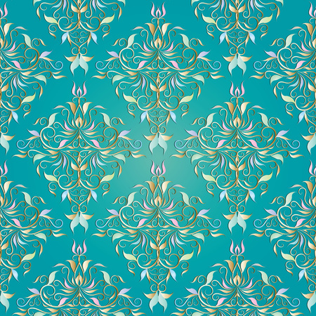 Vector floral light turquoise background with vintage hand drawn flowers, leaves, swirls, curves, line art tracery renaissance style ornaments.