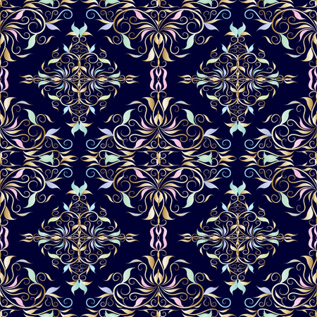 Damask seamless pattern. Vector floral dark blue background with vintage hand drawn flowers, leaves, swirls, curves, line art tracery damask ornaments.