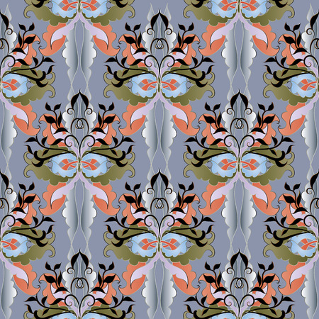 Damask floral 3-d seamless pattern in grey.