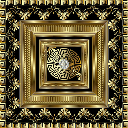 Luxury gold 3d geometric greek key panel pattern.