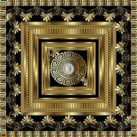 Luxury gold 3d geometric greek key panel pattern.