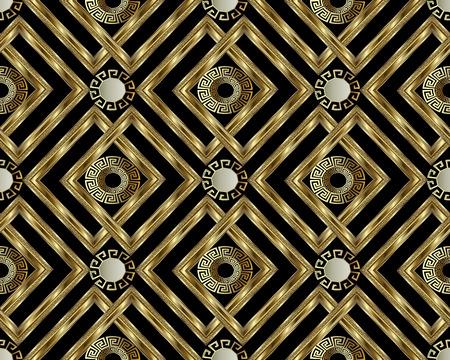 Griego clave meandro oro 3d de patrones sin fisuras vector fondo geométrico abstracto. Adorno griego antiguo vintage con círculos, marcos, rombos. Diseño de textura superficial para papel tapiz, tela, textil. Ilustración de vector
