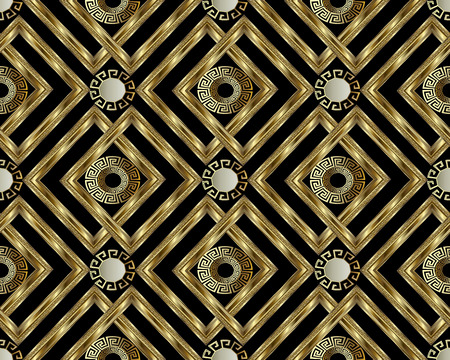 Greek key meander gold 3d seamless pattern vector abstract geometric background. Vintage ancient Greek ornament with circles, frames, rhombus. Surface texture design for wallpaper, fabric, textile.