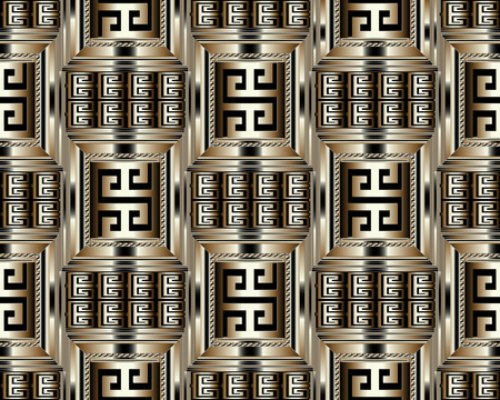 Rayas griegas 3D meandro de patrones sin fisuras. Vector de fondo geométrico abstracto. Adorno griego antiguo oro negro vintage con rayas, bordes, marcos. Textura de superficie. Diseño para papel tapiz