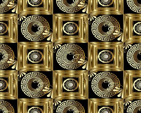 Greek key meander gold 3d seamless pattern.