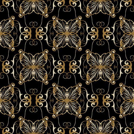 Floral gold baroque seamless pattern. Vector vintage black background. Line art tracery antique ornaments.