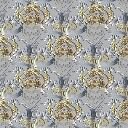 Floral vintage 3d seamless pattern. Vector light ornamental background. Textured wallpaper.