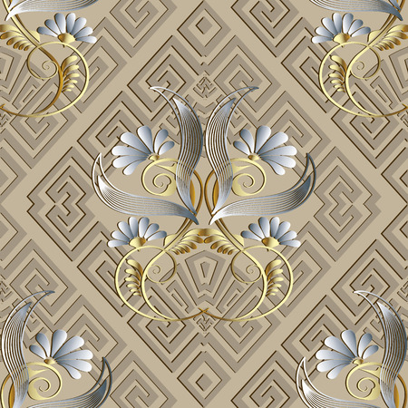 Greek vintage floral 3d seamless pattern. Illustration
