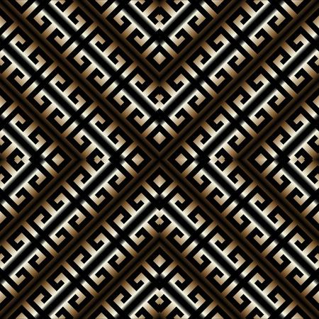 Rayas griegas 3D meandro de patrones sin fisuras. Vector de fondo geométrico abstracto. Adorno griego antiguo oro negro vintage con rayas, rombos, marcos. Textura de superficie. Diseño para fondos de pantalla.
