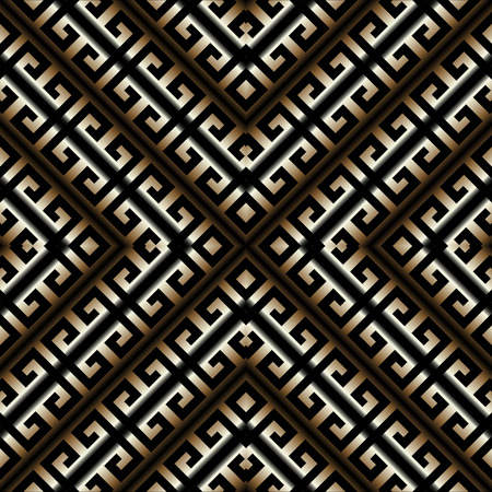 3d striped Greek key meander seamless pattern. Vector abstract geometric background. Vintage ancient gold black Greek ornament with stripes, rhombus, frames. Surface texture. Design for wallpapers.