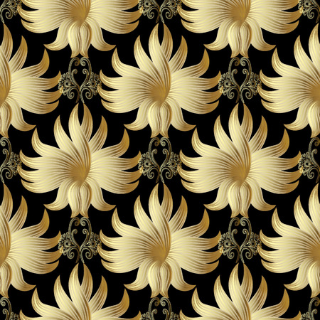 Gold 3d floral vector seamless pattern. Golden surface hand drawn flowers. Vintage ornaments. Ornate rich design for wallpapers, fabrics, textile. Surface texture. Luxury gold 3d flowers background. Vectores
