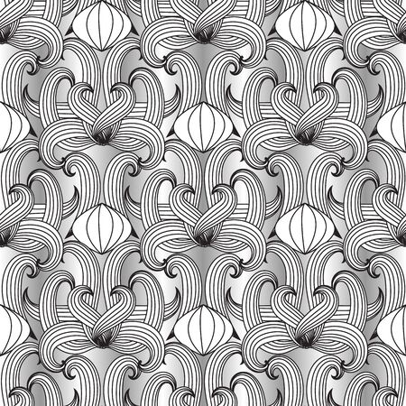 Floral black and white vector seamless pattern. Hand drawn vintage ornaments. Luxury design for fabrics, wallpapers, prints, textile. Isolated texture. Line art tracery doodle flowers, striped leaves.