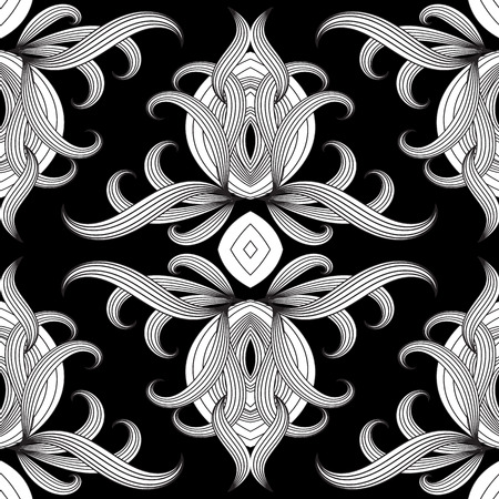 Floral black and white vector seamless pattern. Hand drawn vintage ethnic ornaments. Design for fabrics, wallpapers, prints, textile. Isolated texture. Line art tracery doodle flowers, striped leaves.