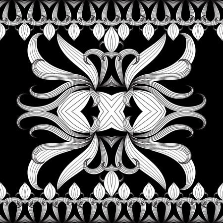 Floral black and white vector seamless border pattern. Hand drawn vintage ornaments. Design for fabrics, wallpapers, prints, textile. Isolated texture. Line art tracery doodle flowers, striped leaves.