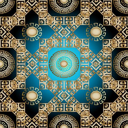 Modern greek 3d seamless pattern. Vector geometric background. Gold ornate wallpaper. Greek key mandalas, meander rhombus and square frames. Vintage ancient ornaments. Luxury design. Surface texture Illustration