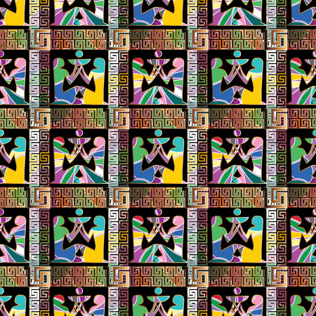 Egyptian hieroglyphs seamless  pattern. African ethnic golden check background. Tribal 3d wallpaper illustration with greek key stripes, and colorful ornamental african women . Vector bright texture.