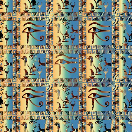 Egyptian hieroglyphs vector seamless  pattern. African ethnic check background. Tribal papyrus wallpaper illustration with greek key, meanders  stripes, eyes and ornamental  ancient egyptian ornaments