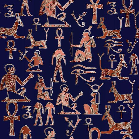 Egyptian hieroglyphs vector seamless  pattern. African ethnic dark blue background. Tribal 3d wallpaper.  Ornamental texture with gold red antique ornaments . Ancient illustration. Patterned design Illustration
