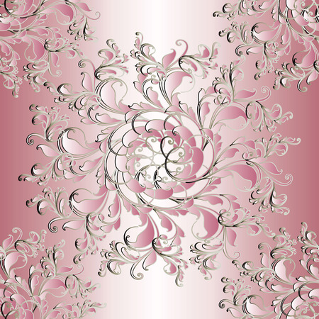 Floral seamless mandala pattern. Light pink  background wallpaper illustration with vintage 3d flowers, swirl leaves and beautiful flourish damask ornaments. Vector surface texture.