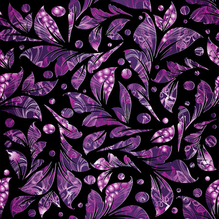Floral  violet seamless pattern. Luxury patterned leafy vector black background. Vintage textured ornaments. Polka dots, ornamental leaves. Abstract modern design for wallpapers, fabric, printing Illustration