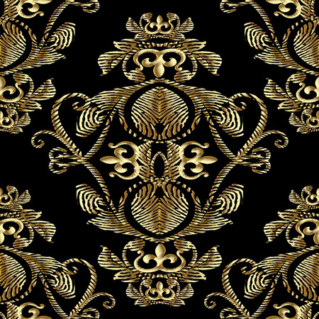 Baroque gold embroidery 3d seamless pattern. Vector patterned tapestry background. Vintage line art tracery embroidred antique royal ornaments,  flowers, abstract vintage crown, scroll lace leaves. 免版税图像 - 99964002